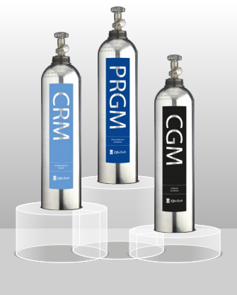 Three EffecTech cylinders on a podium: PRGM, CRM and CGM