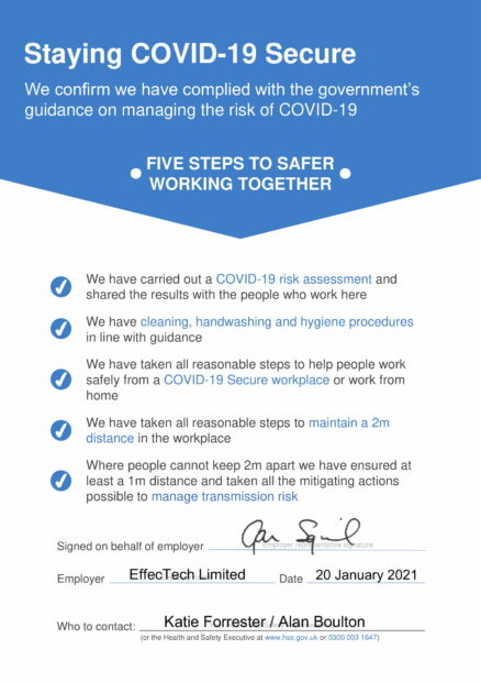 COVID-19 secure statement